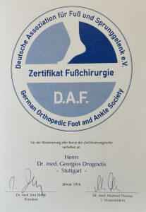 Dr. Drogoutis Zertifikat Fußchirurgie