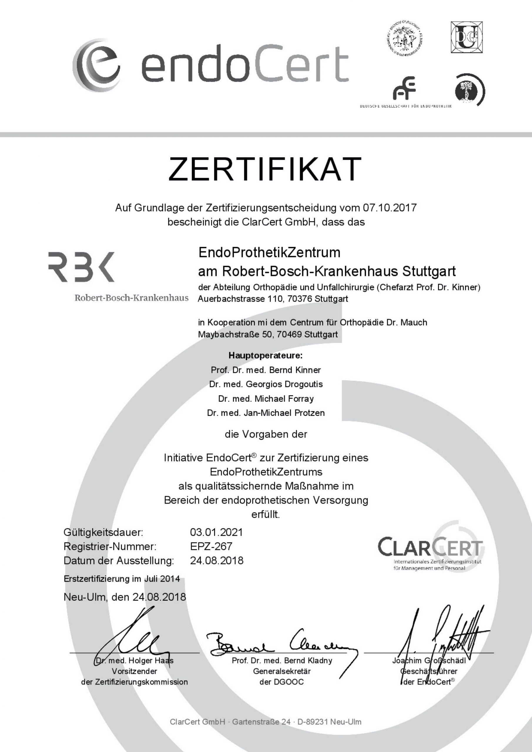 Dr. Drogoutis Zertifikat Endoprothetik